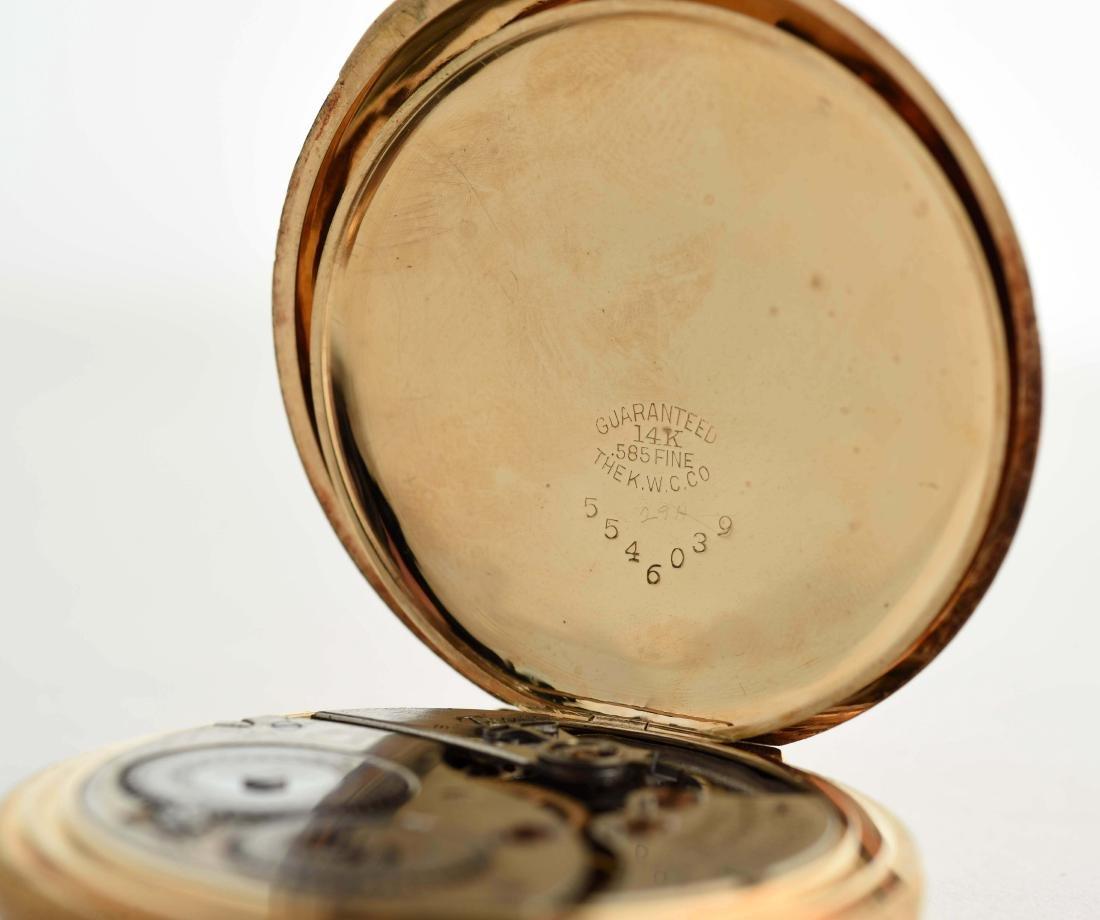 Waltham 14K Gold H/C Pocket Watch 15j Size 12. - 2