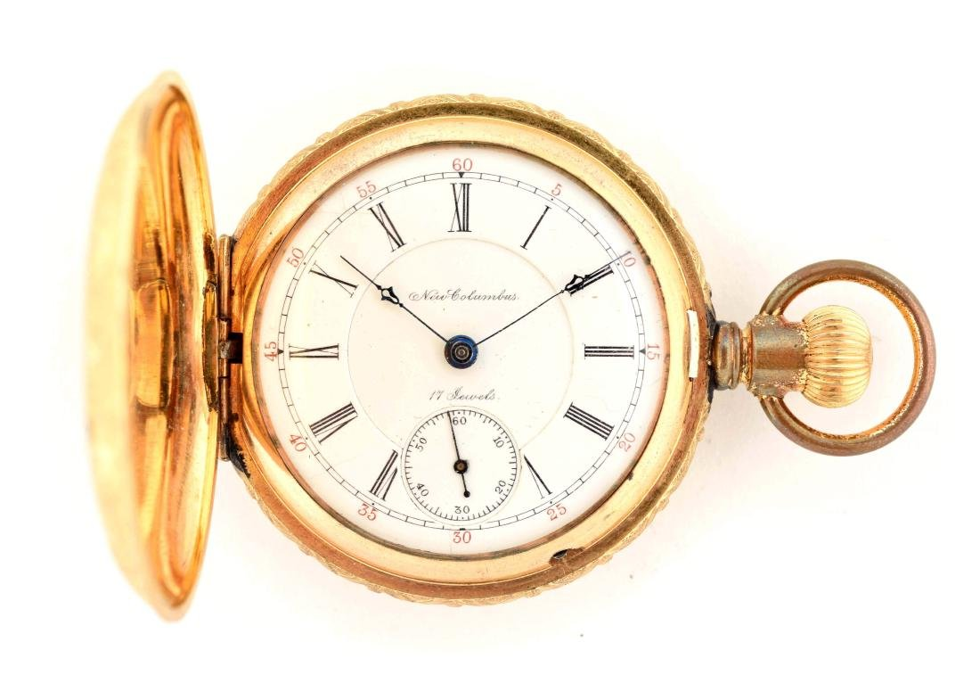 New Columbus Gold Filled H/C Pocket Watch W/Hunting