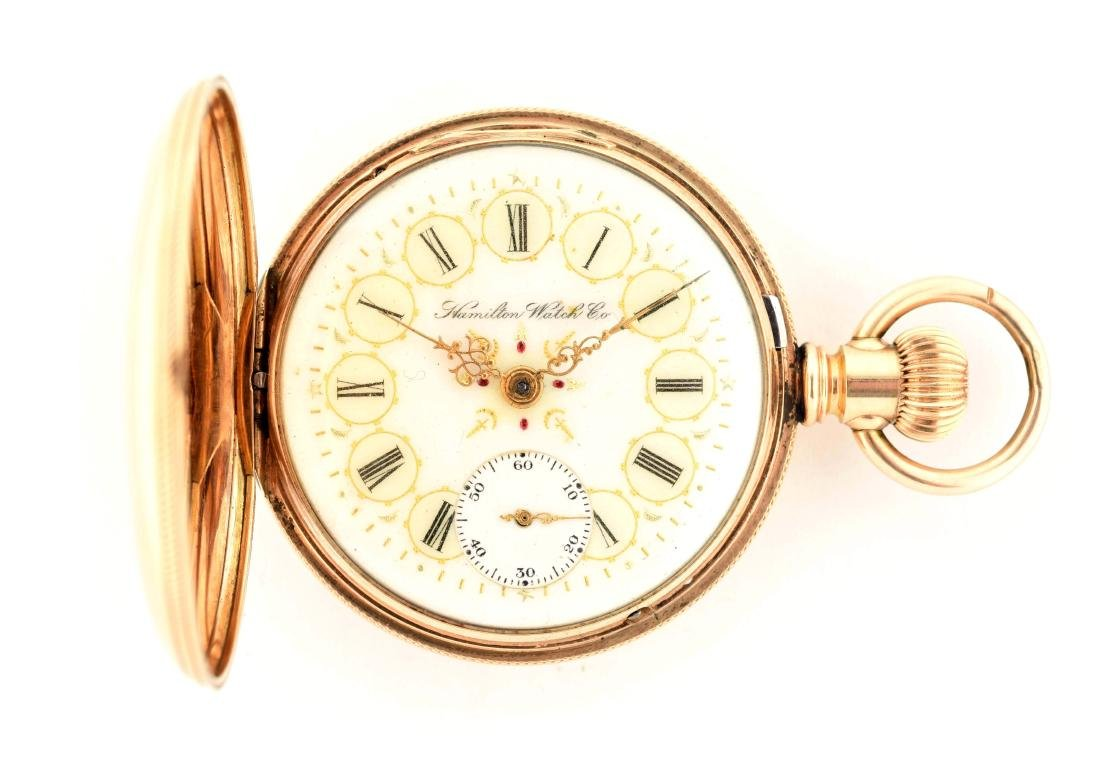 Hamilton 941 14K Gold H/C Pocket Watch 21j Size 18.