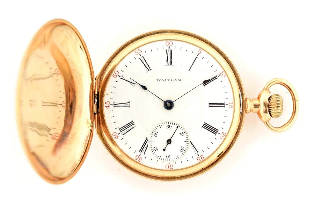 Waltham Multi Color 14K Gold H/C Pocket Watch.