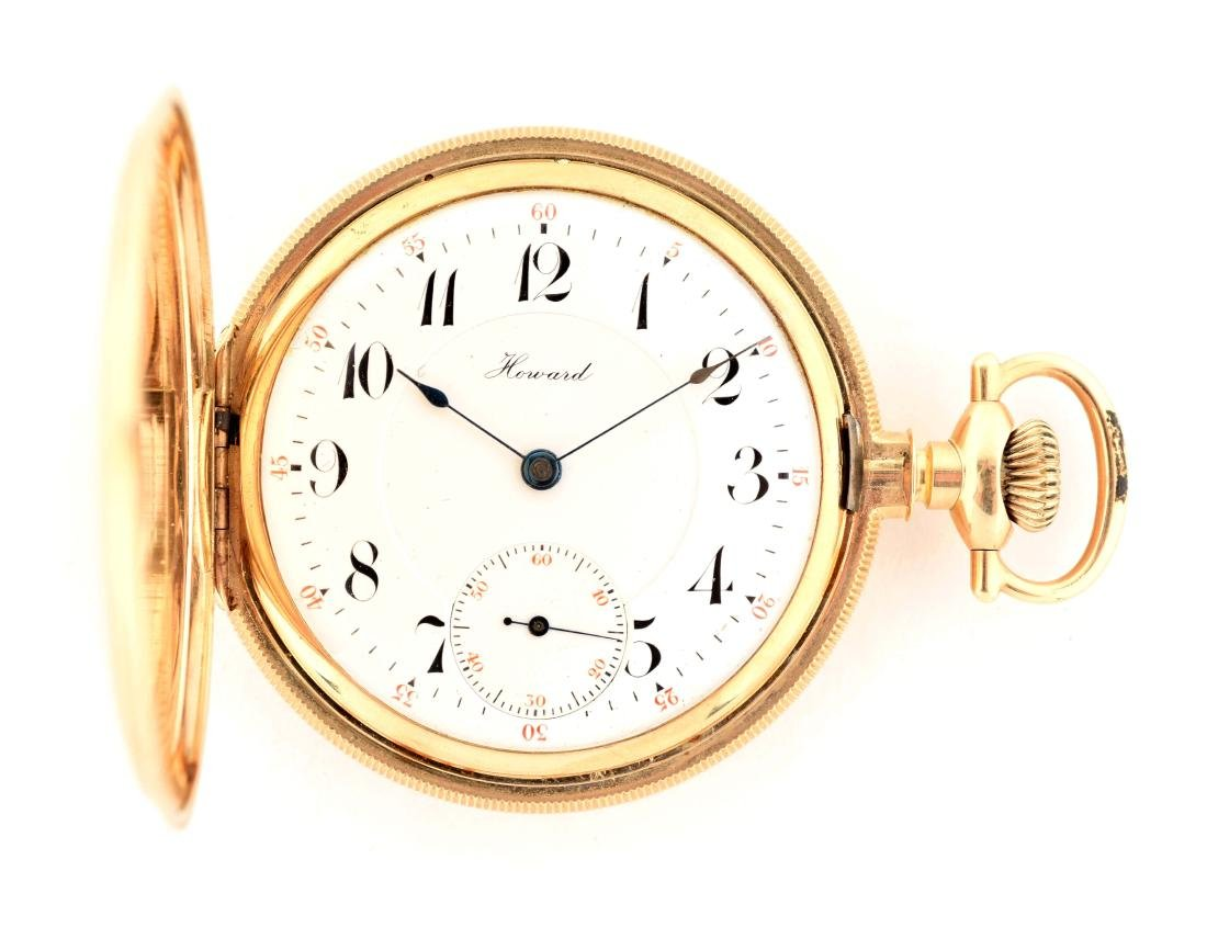 E. Howard 14K Gold H/C Pocket Watch 23j.