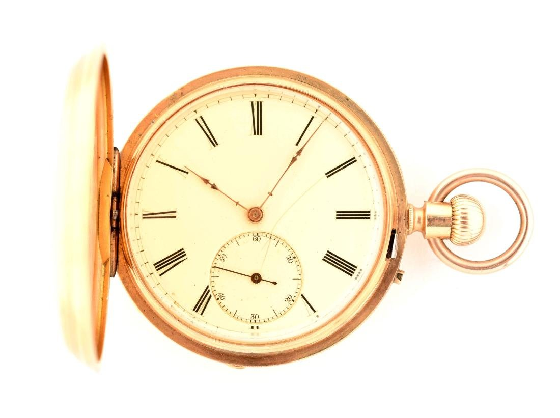 Unmarked 18K Gold Hunting Case Pocket Watch.