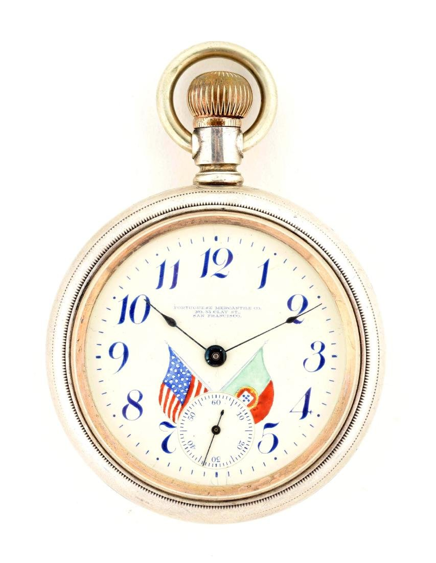 Portugese Mercantile Co. Serling Silver Pocket Watch.