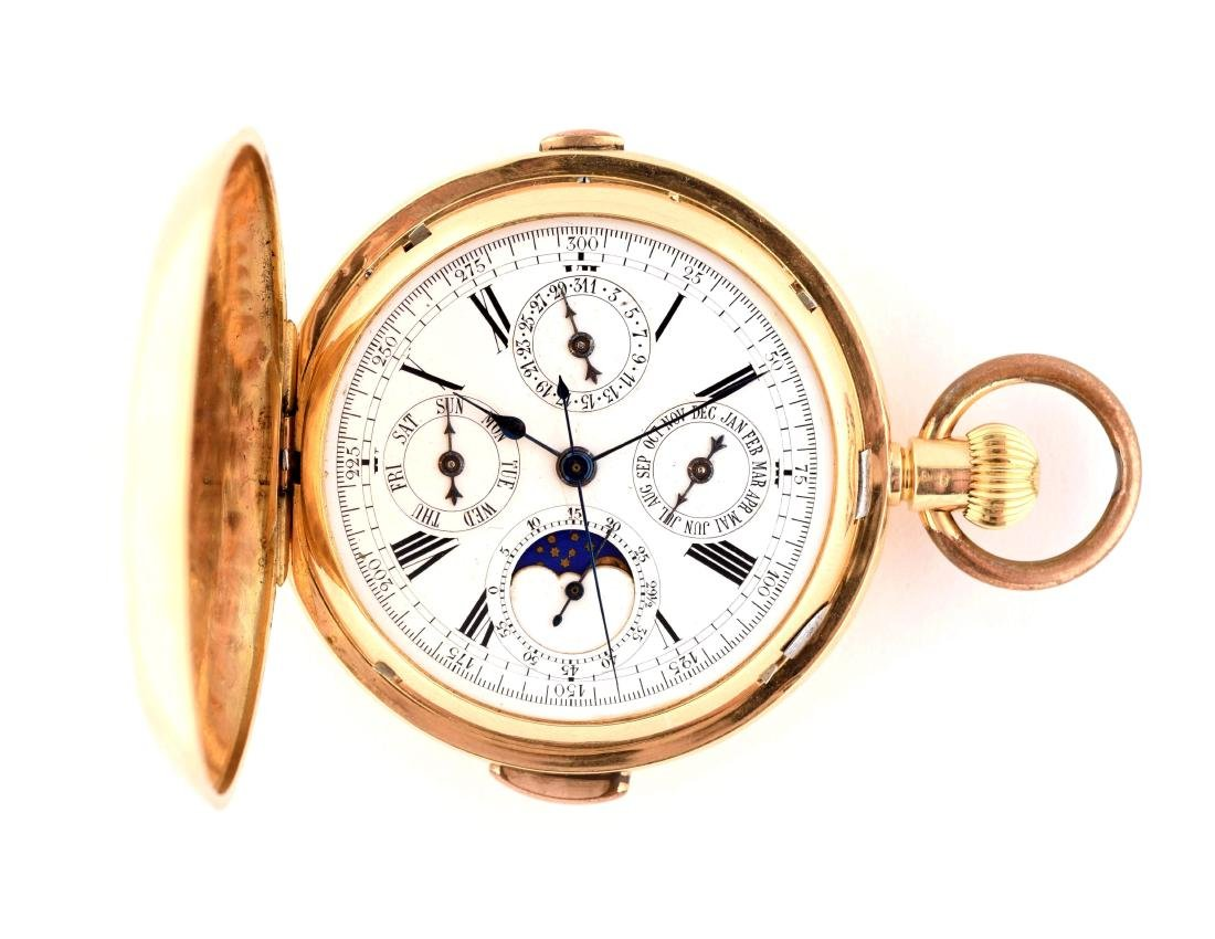 Unmarked Moonphase Repeater Pocket Watch.