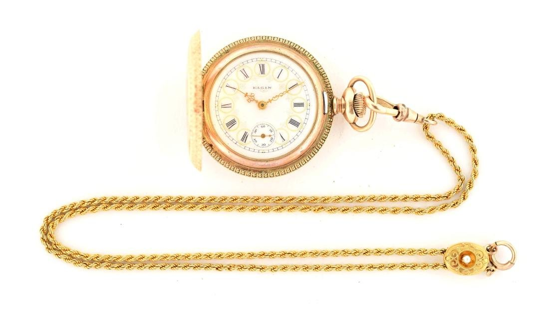 Elgin Gold Filled Pocket Watch with Chain.