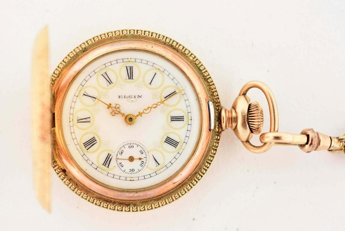Elgin Gold Filled Pocket Watch with Chain. - 2