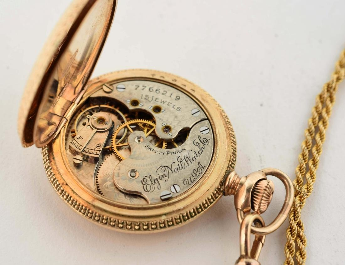 Elgin Gold Filled Pocket Watch with Chain. - 5