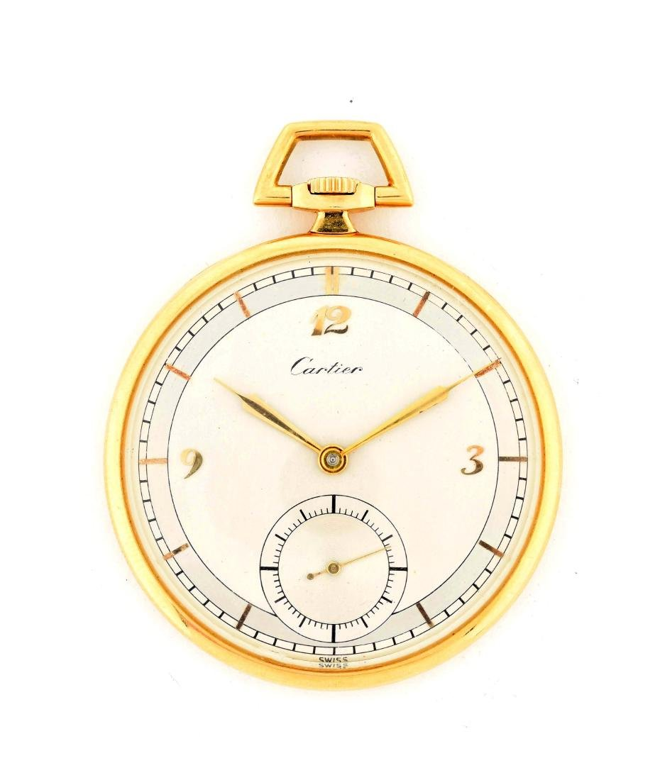 Cartier 18K Gold O/F Fine Swiss Pocket Watch 19j.