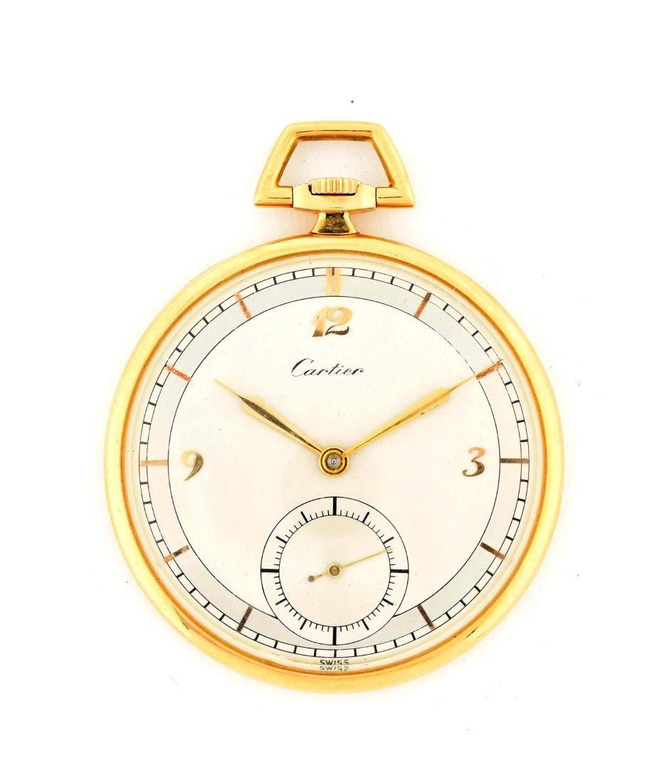 Cartier 18K Gold O/F Fine Swiss Pocket Watch 19j.