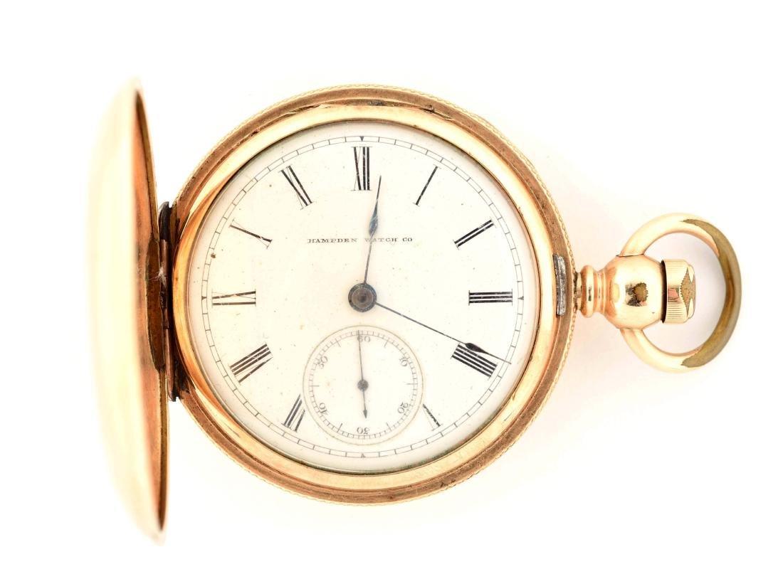 Hampden Watch Co. 14K Gold Filled H/C Pocket Watch Size
