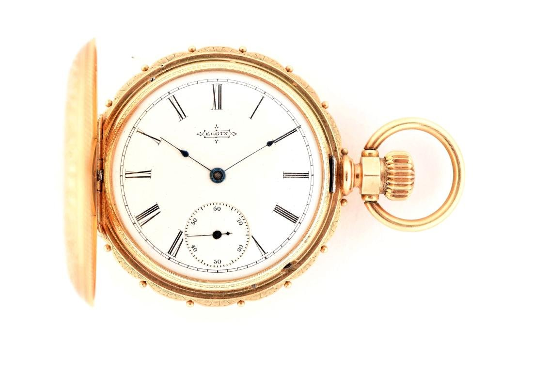 Elgin 14K Gold H/C Pocket Watch W/Diamond.