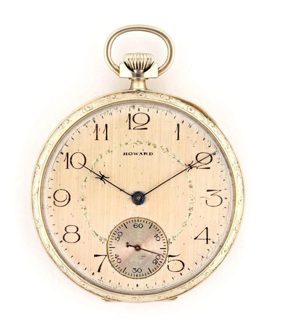 Howard 14K White Gold O/F Pocket Watch 19j.