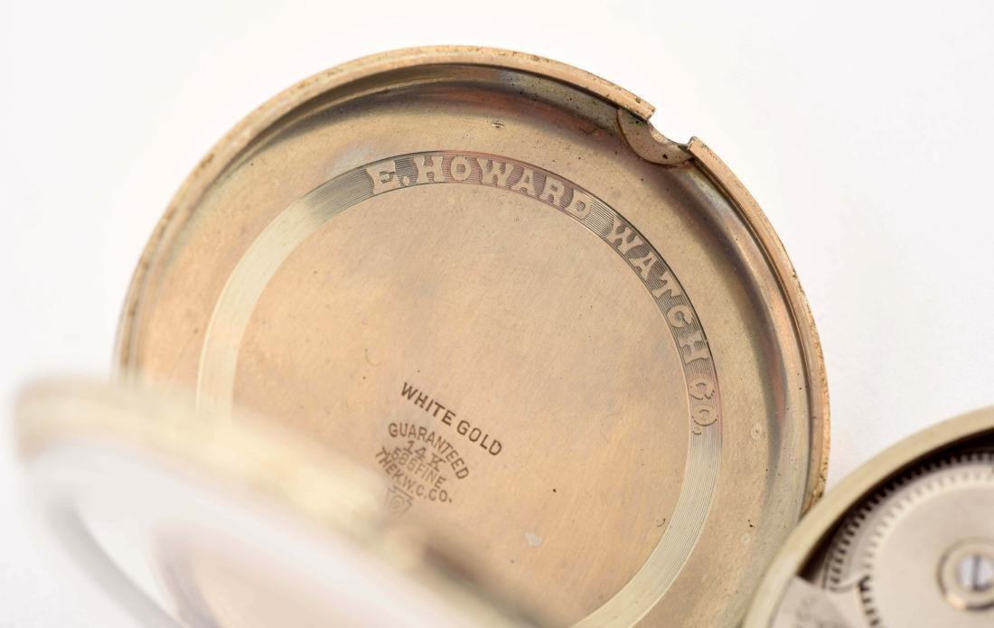 Howard 14K White Gold O/F Pocket Watch 19j. - 5
