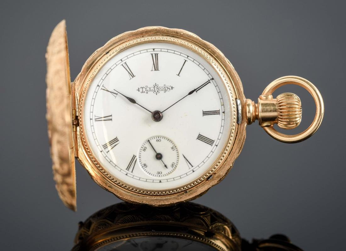 Illinois 14K Gold H/C Pocket Watch Circa 1892.