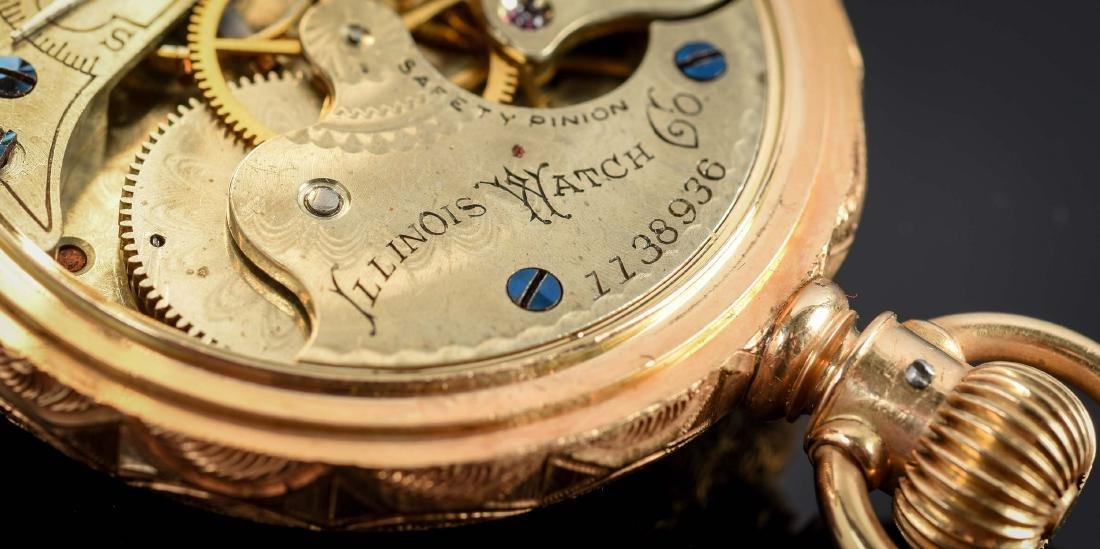 Illinois 14K Gold H/C Pocket Watch Circa 1892. - 7