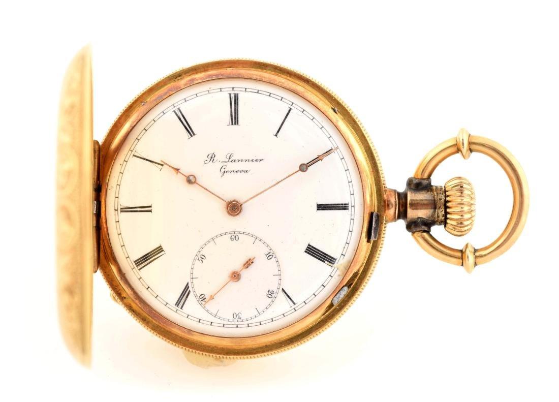 R. Lannier Geneva 18K Gold H/C Swiss Pocket Watch.