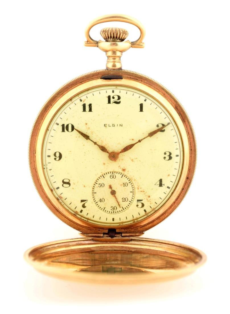 Elgin 18K Gold H/C Pocket Watch 17j.