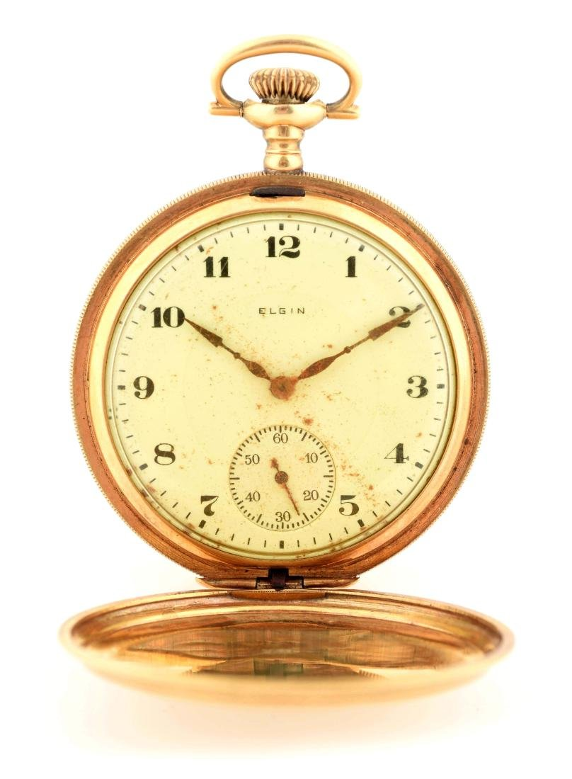 Elgin 18K Gold H/C Pocket Watch 17j.