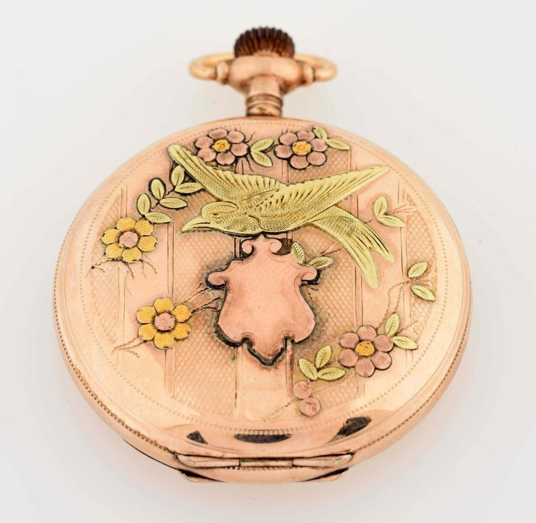 Waltham Gold Filled H/C Pocket Watch W/Birds. - 2