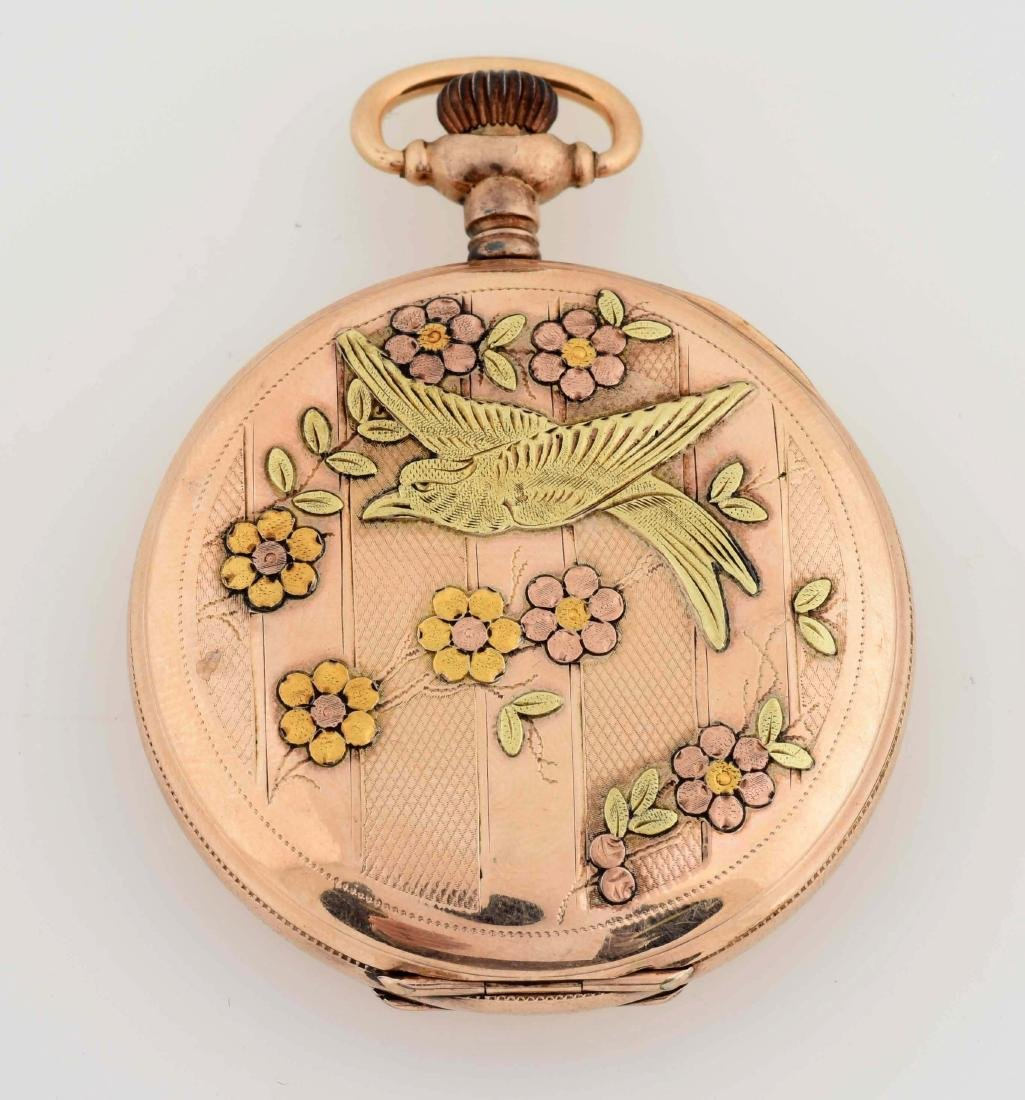 Waltham Gold Filled H/C Pocket Watch W/Birds. - 3