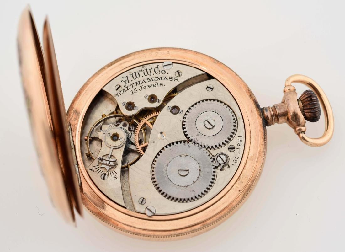 Waltham Gold Filled H/C Pocket Watch W/Birds. - 4