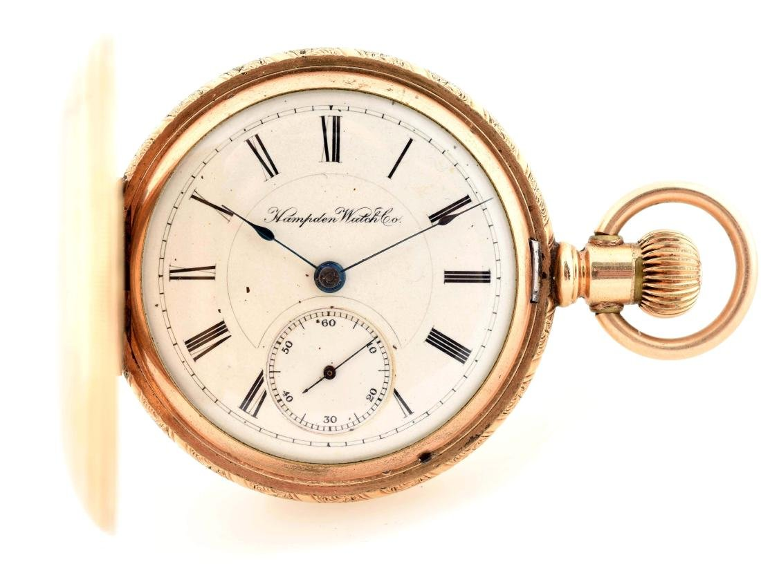 Hampden 14K Gold Filled H/C Pocket Watch Size 18.