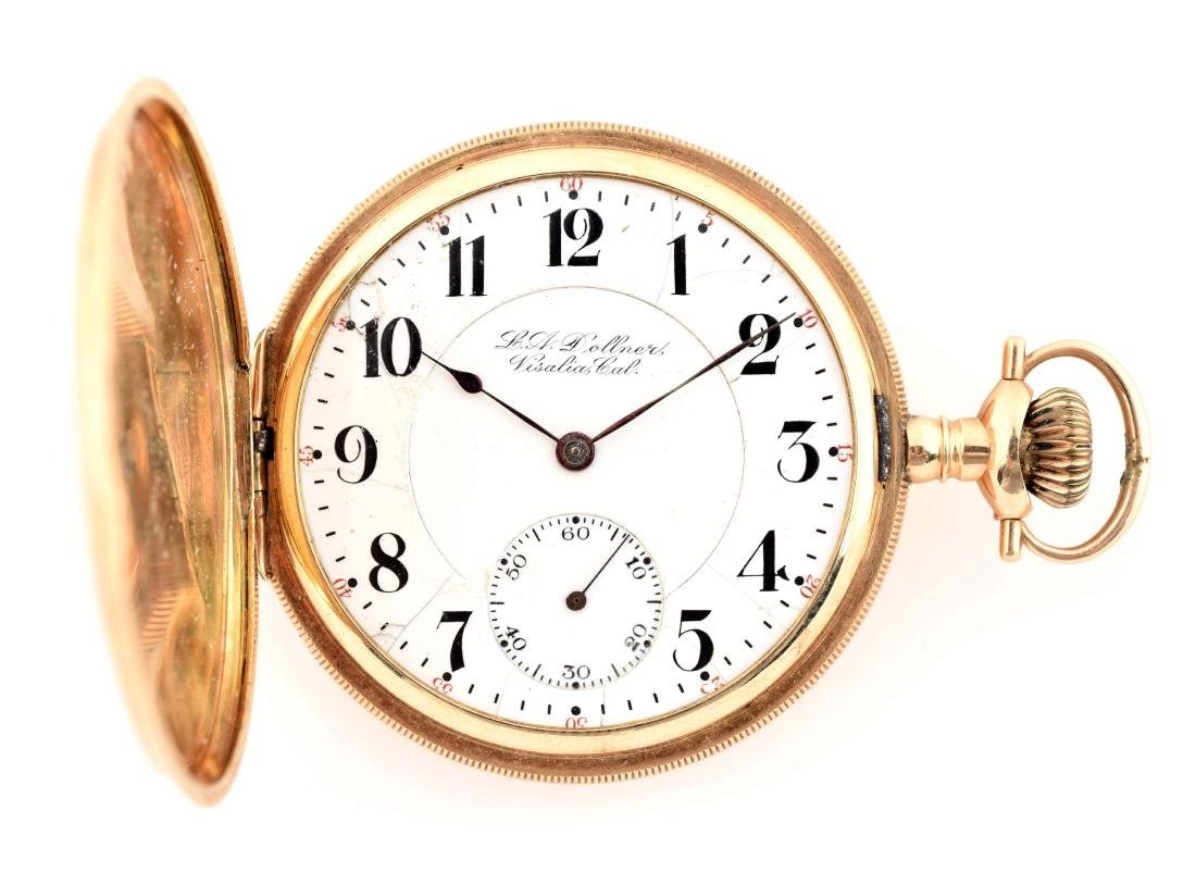 Hamilton 14K Gold Private Label H/C Pocket Watch.