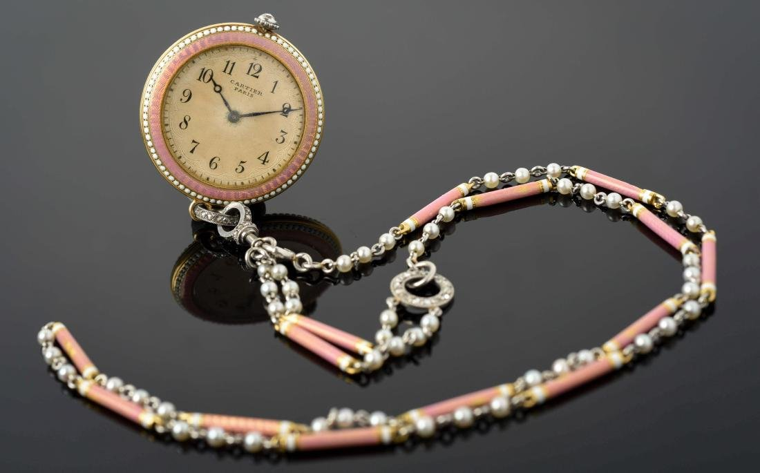Ladies 18K Gold & Enamel Cartier Pendant Watch & Chain.