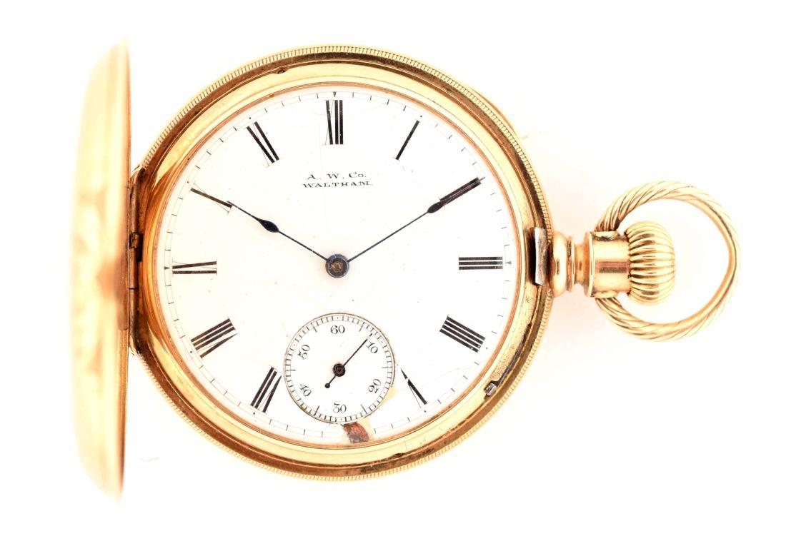 Waltham 18K Gold H/C Pocket Watch Circa 1880. - 3