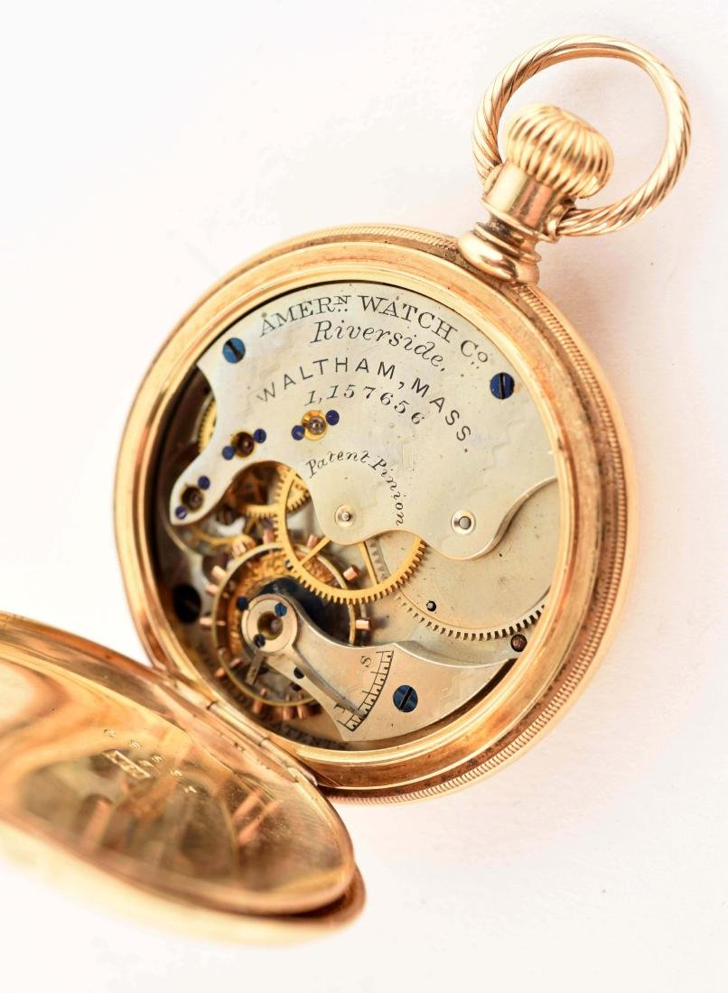 Waltham 18K Gold H/C Pocket Watch Circa 1880. - 4