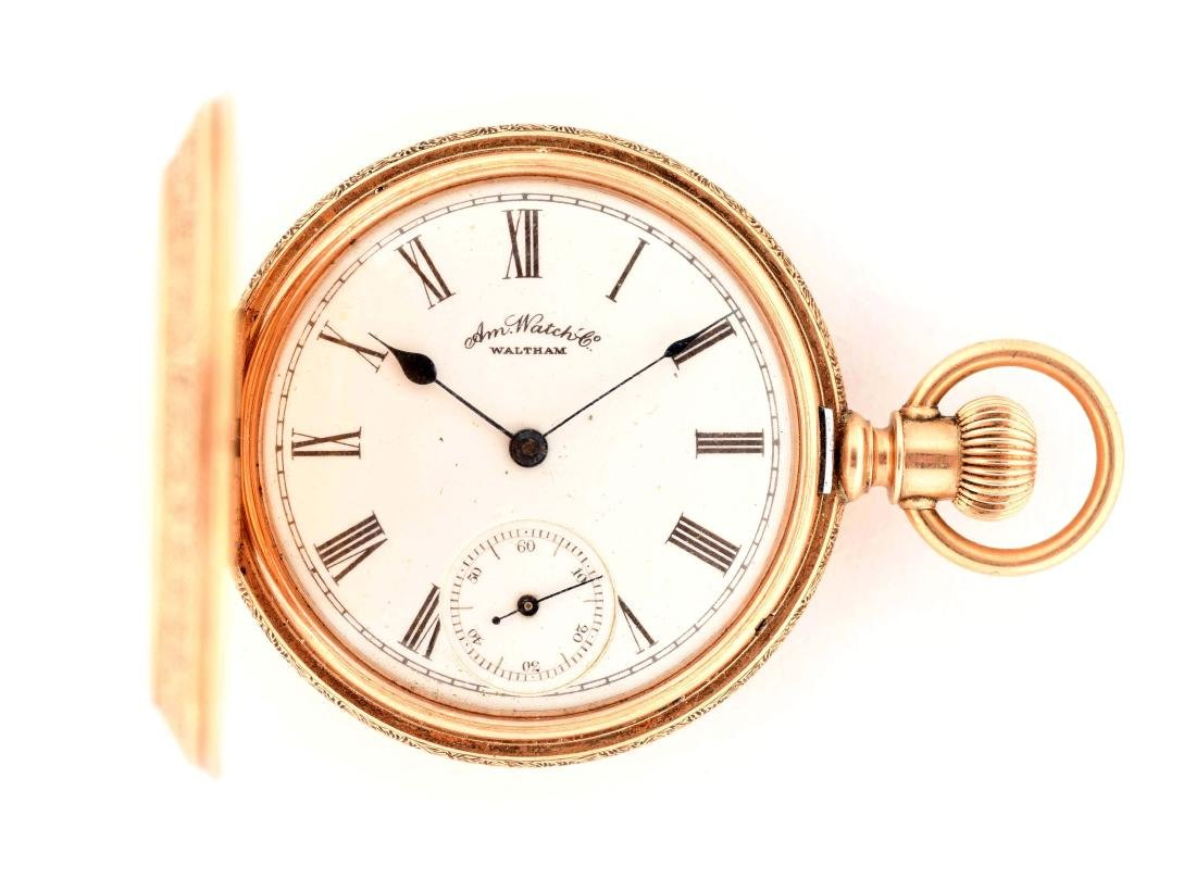 Waltham 14K Gold H/C Pocket Watch Circa 1886.