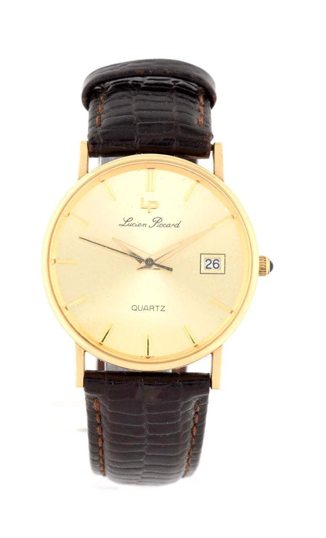 14K Yellow Gold Lucien Piccard Strap Watch.