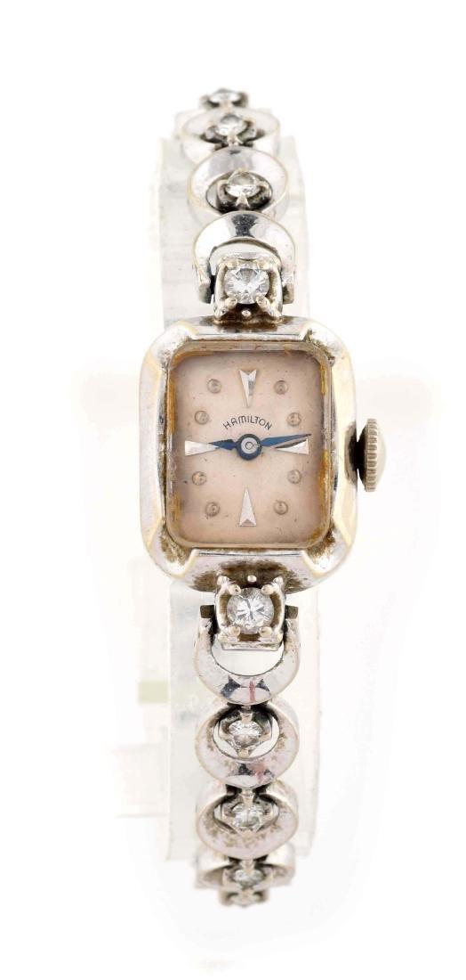 Ladies Hamilton 14K White Gold Watch with 18 Diamonds.