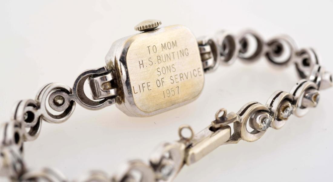Ladies Hamilton 14K White Gold Watch with 18 Diamonds. - 3