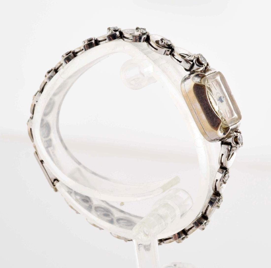 Ladies Hamilton 14K White Gold Watch with 18 Diamonds. - 4