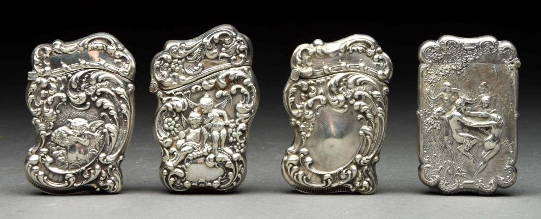 Lot Of 4: Antique English Sterling Silver Match Safes
