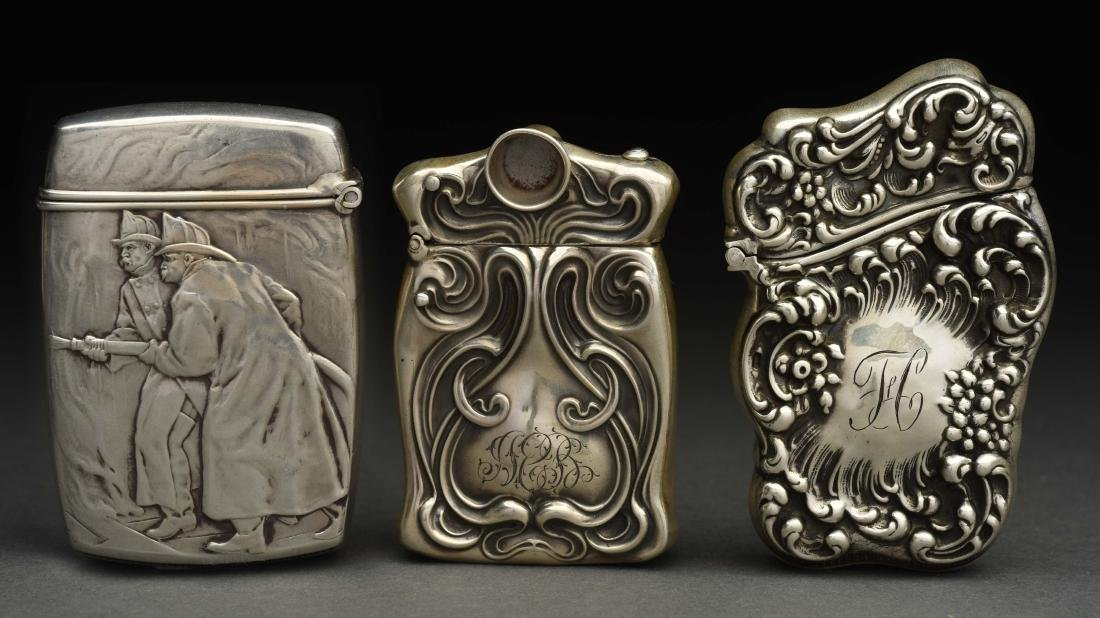 Lot Of 3: Antique Sterling Silver Match Safes or