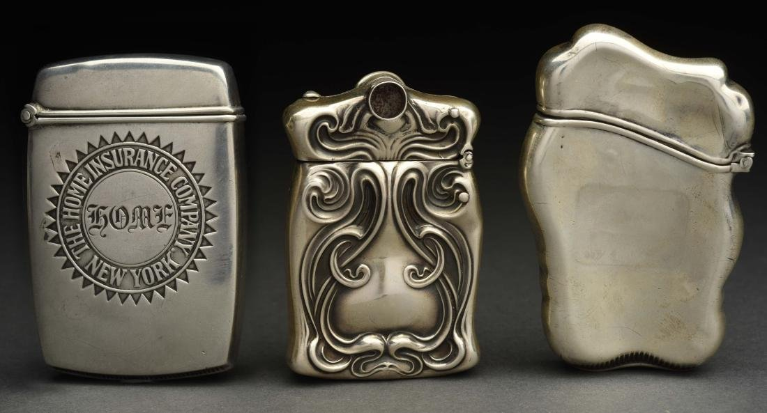 Lot Of 3: Antique Sterling Silver Match Safes or - 2