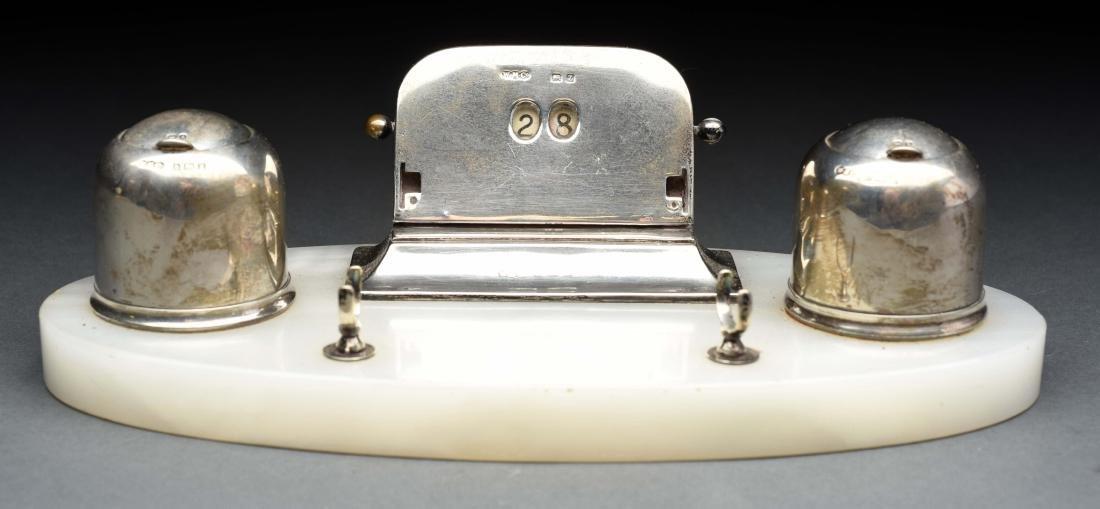 Sterling Silver Desk Inkwell Set.