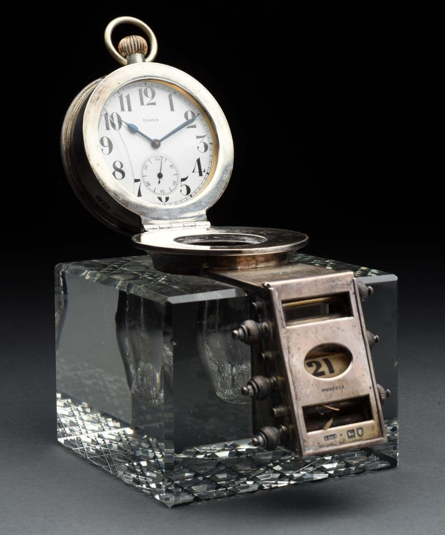 Sterling Silver & Glass Inkwell with 8 Day Clock.