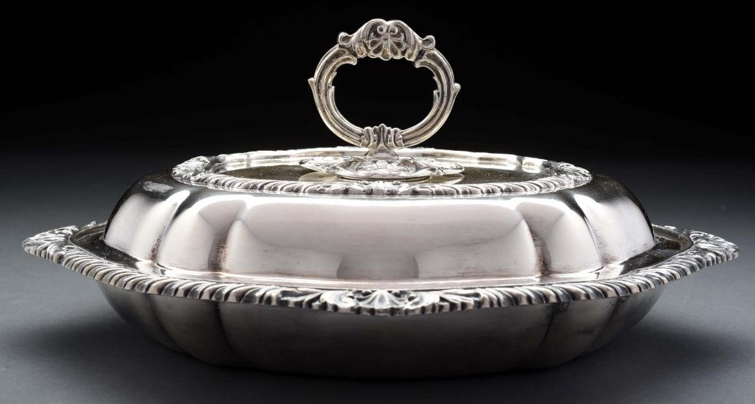 Silver plated covered vegetable dish,