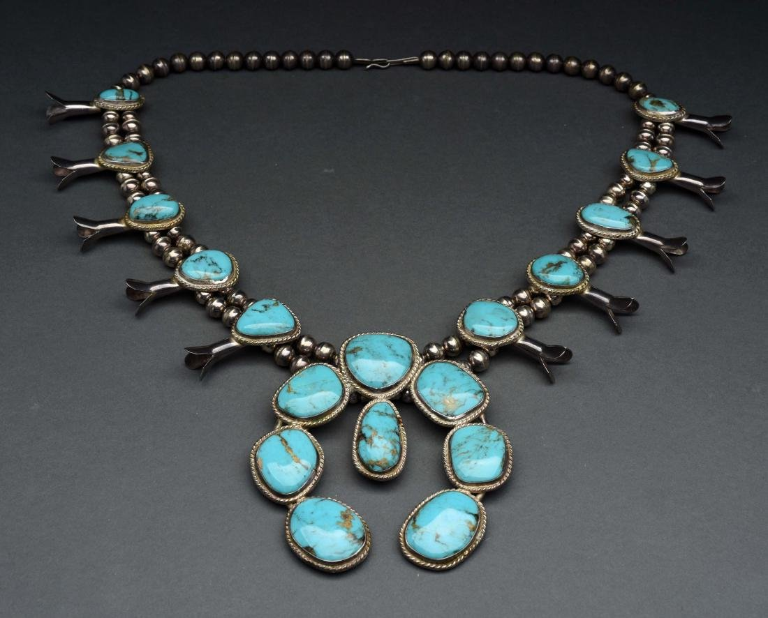 Native American Indian Squash Blossom Necklace. - 2