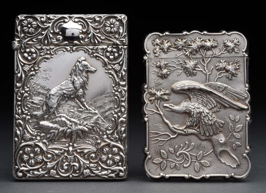 Lot of 2: Antique Sterling Silver Victorian Card Cases.
