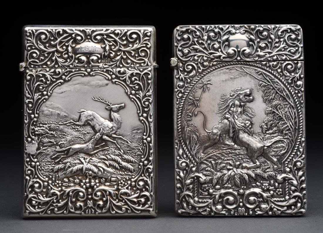 Lot of 2: Antique English Silver Victorian Card Cases.