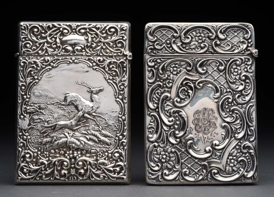 Lot of 2: Antique English Silver Victorian Card Cases. - 2