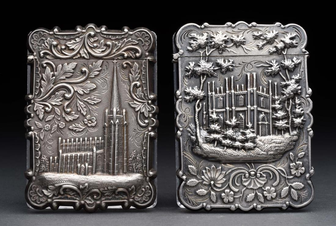 Lot of 2: Antique English Victorian Silver Card Cases.