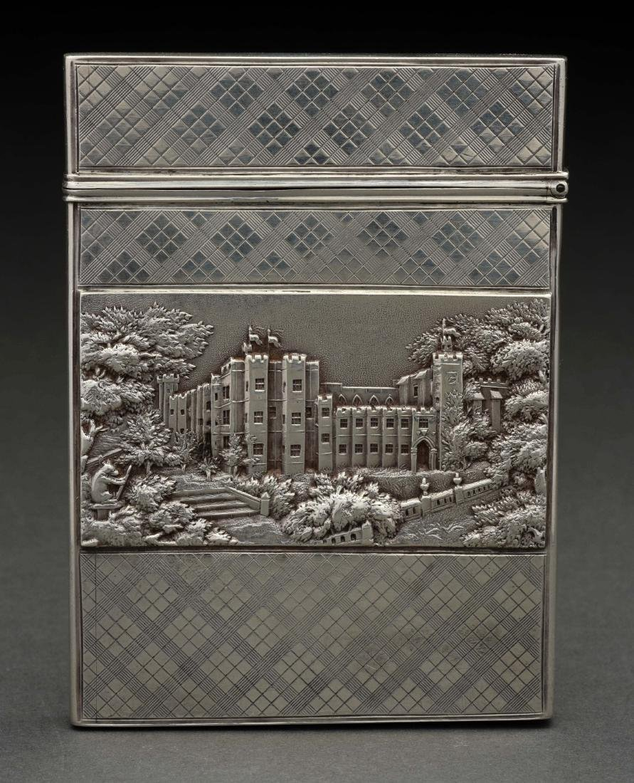 Antique Victorian Sterling Silver Card Case. - 2