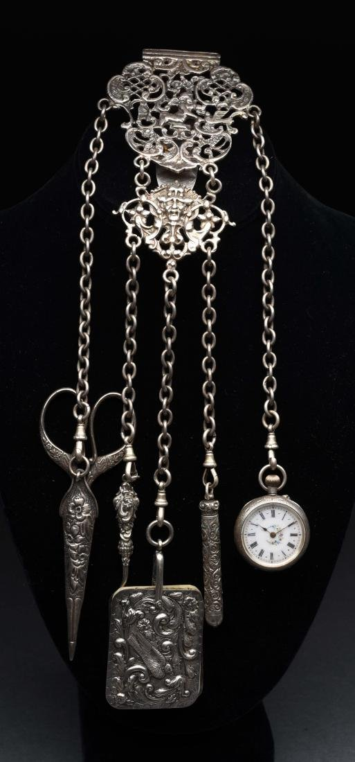 Victorian English Antique Sterling Silver Chatelaine.