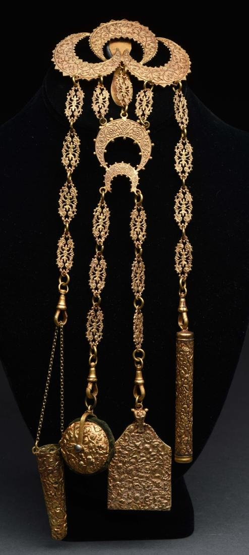 Antique English Victorian Chatelaine in Gold Gilt.