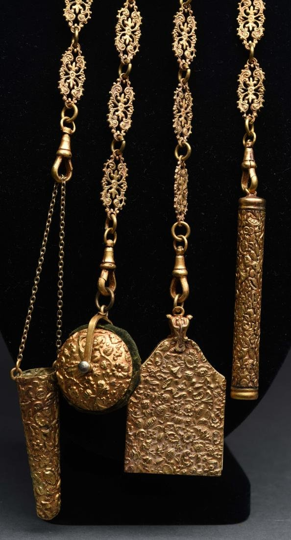 Antique English Victorian Chatelaine in Gold Gilt. - 2
